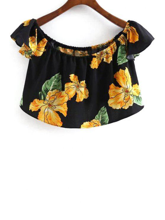 hot Floral Print Scoop Neck Cropped Blouse - BLACK S