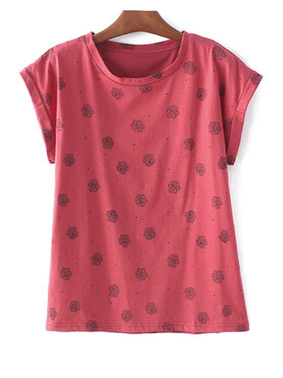 outfit Polka Dot Floral Red T-Shirt - RED S