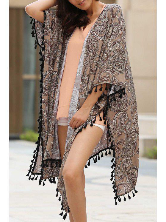Stampa Etnica 3/4 maniche kimono camicetta - Marone S