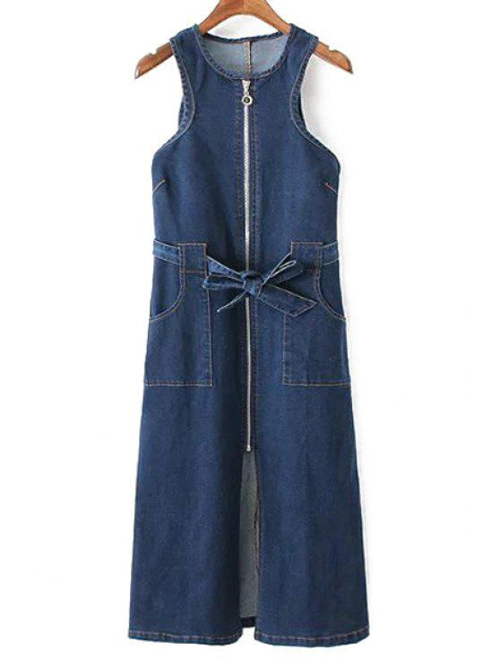 Bolsos com zíper em torno do pescoço sem mangas Denim Vestido - Azul Escuro L