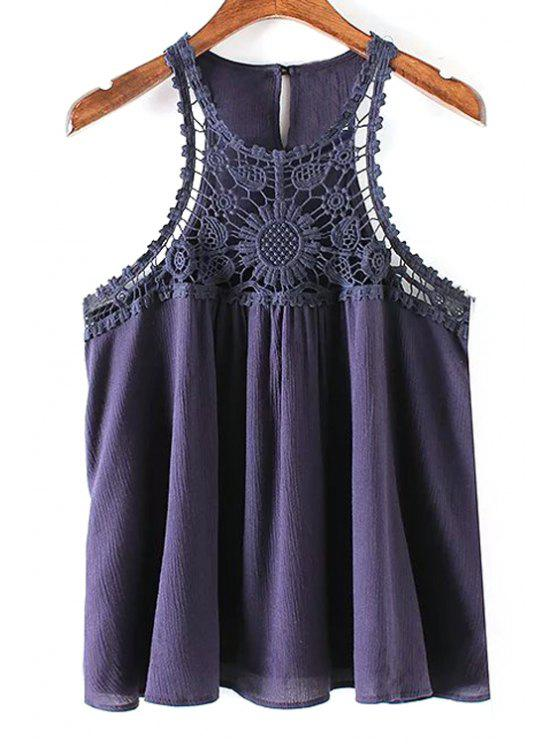 fashion Solid Color Lace Splicing Round Neck Tank Top - PURPLISH BLUE L
