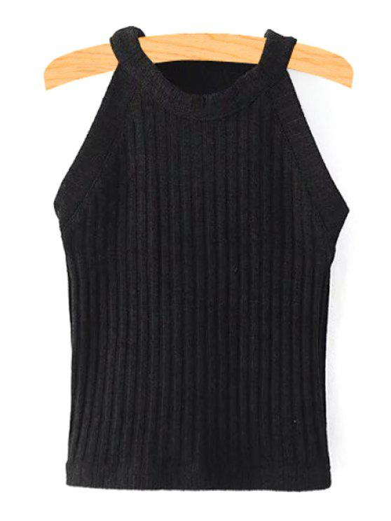 best Solid Color Fitted Jewel Neck Tank Top - BLACK M