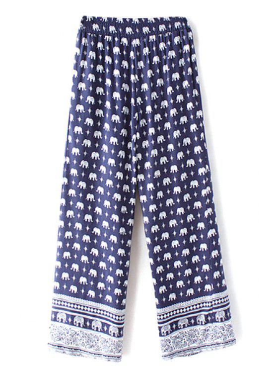 latest Elephant Print High Waist Wide Leg Pant - PURPLISH BLUE L