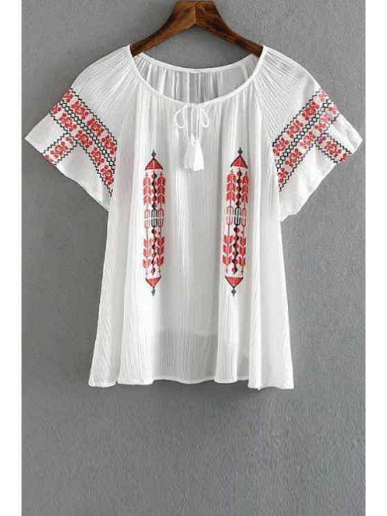 Manga del bordado retro con cuello redondo corto de la camiseta - Blanco L