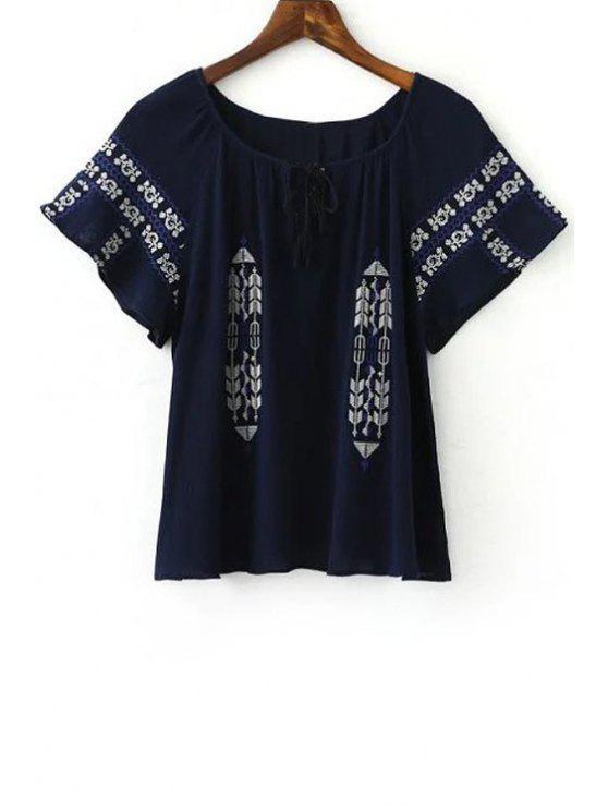 Retro-Stickerei mit rundem Halsausschnitt Kurzarm T-Shirt - Kadettenblau L