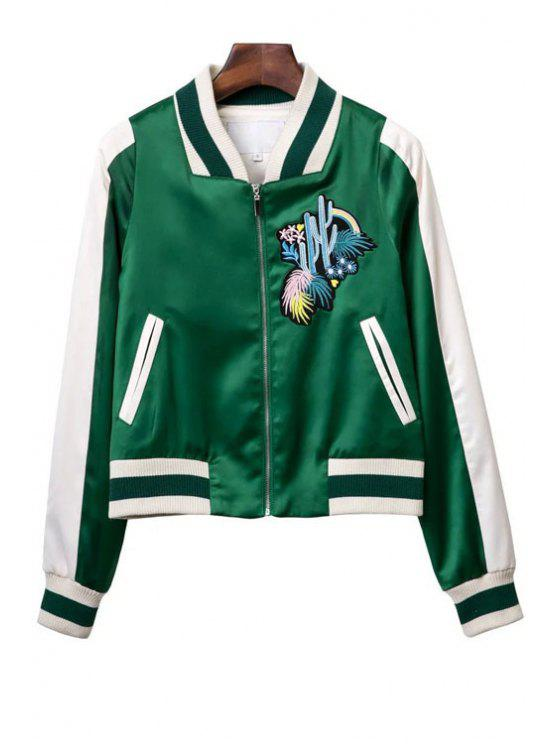women's Embroidered Green Baseball Jacket - GREEN S