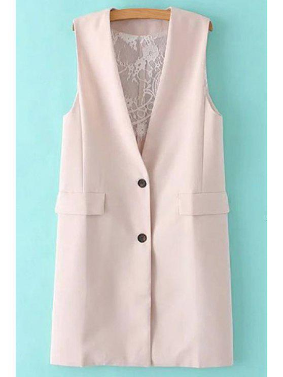hot Solid Color Lace Spliced Collarless Waistcoat - SHALLOW PINK S
