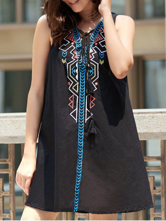 Ethnic impressão geométrica Estilo mangas amarrada Pendant Dress For Women - Preto L