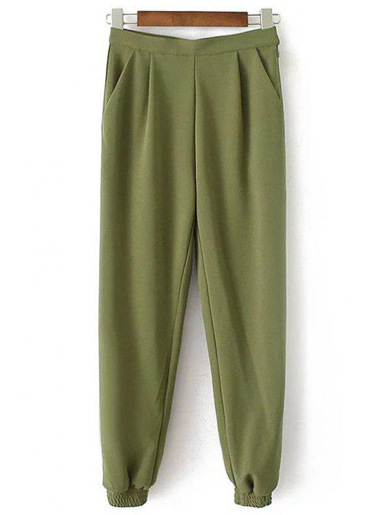 fancy Solid Color Jogger Pants - ARMY GREEN L