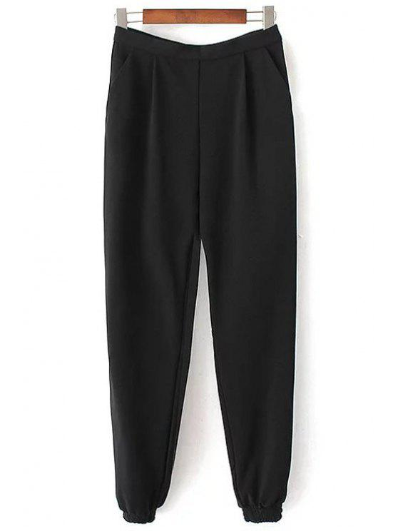 shops Solid Color Jogger Pants - BLACK M
