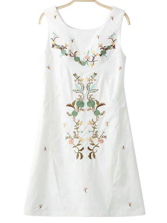 Collar bordado redondo vestido sin mangas - Blanco L