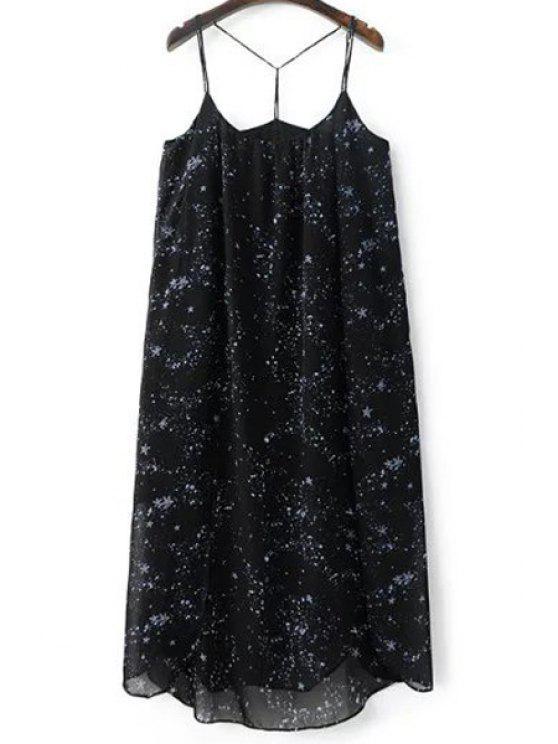 Vestido de Tirantes Finos con Estampado de Estrella con Abertura Alta - Negro S