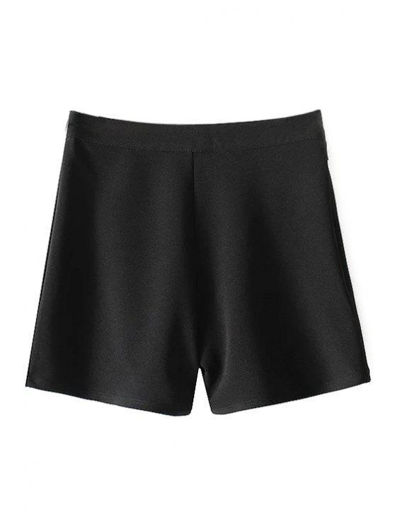 Pantalones cortos de color talle alto sólidos - Negro L