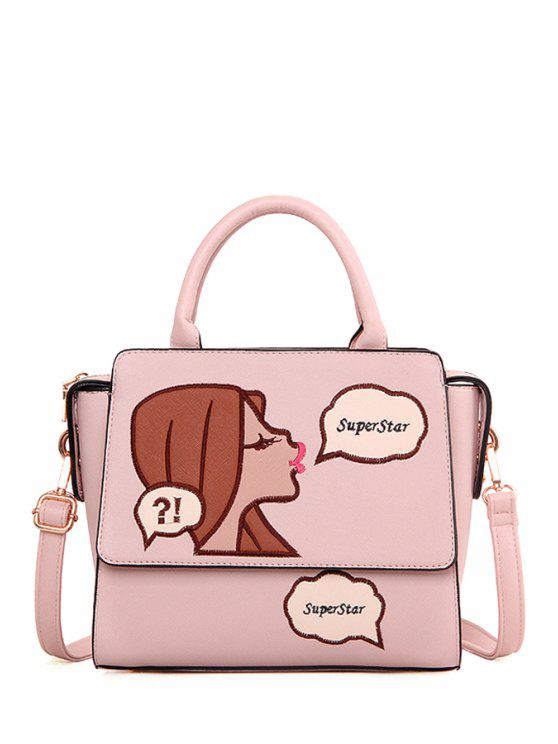 affordable Cartoon Pattern Embroidery PU Leather Tote Bag - PINK