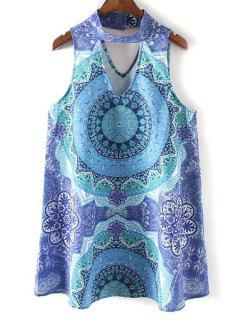 Retro Printed Stand Neck Sleeveless Dress - Blue L
