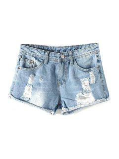 Broken Hole Hemming Mid-Waist Denim Shorts - Light Blue Xl