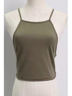 Solid Color Backless Spaghetti Straps Tank Top - Army Green