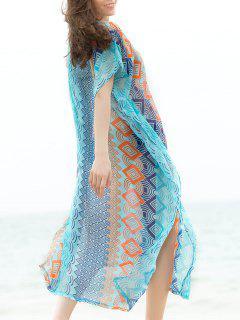 Bohemian V-cou à Manches Courtes Géométrique Cover-Up Vestimentaire Pour Les Femmes - Bleu