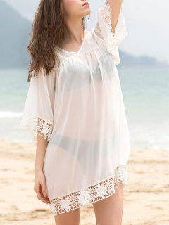 Fashionable V-Neck 3/4 Sleeve Lace Splicing Cover-Up Dress For Women - White