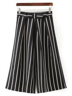 Striped Bowknot Taille Haute Jambe Large Pant - Noir S