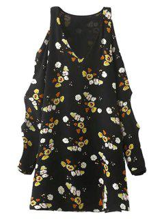 Cut Out V-Neck Tiny Flower Print Dress - Black L