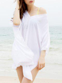 Fashionable Plunging Neck 3/4 Sleeve Cover-Up Dress For Women - White