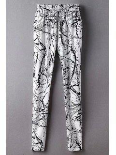 Ink Print Belted Mid-Waist Harem Pant - White L