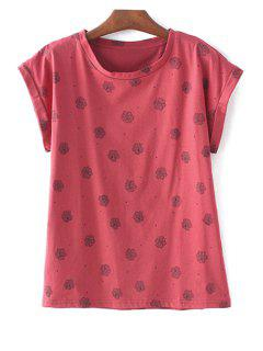 Polka Dot Floral Red T-Shirt - Red S