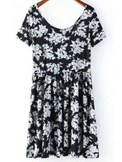 Flower Print Scoop Neck Short Sleeve Dress - Black M