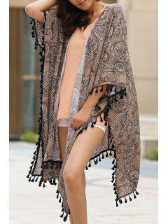 Ethnic Print 3/4 Sleeve Kimono Blouse - Brown S