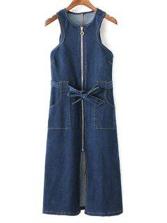Pockets Zippered Round Neck Sleeveless Denim Dress - Deep Blue L