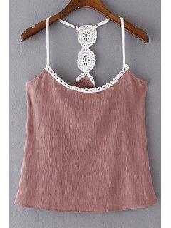 Lace Detail Cami Tank Top - Pink L