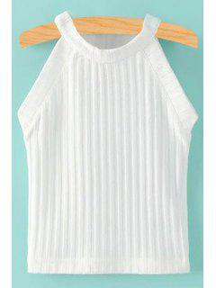 Solid Color Fitted Jewel Neck Tank Top - White L
