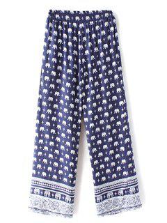El Elefante De Impresión De Alta Cintura De La Pierna Ancha De Las Bragas - Azul Purpúreo M