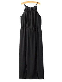 Camisole High Slit Chiffon Dress - Black L