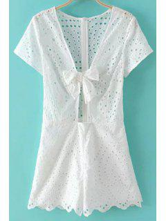 Solid Color Cut Out Plunging Neck Short Sleeve Romper - White L