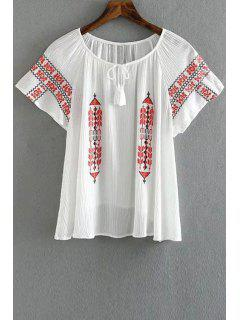 Retro Embroidery Scoop Neck Short Sleeve T-Shirt - White Xs