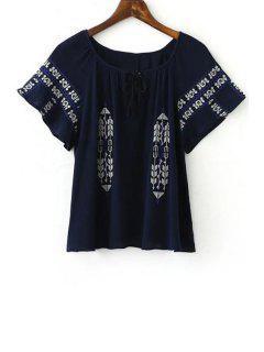 Retro Broderie Scoop Cou à Manches Courtes T-shirt - Bleu Cadette L