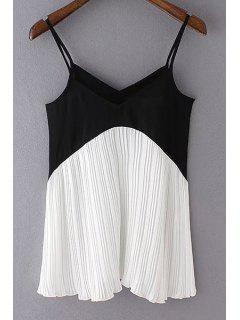 Color Block Pleated Cami Top - White And Black L