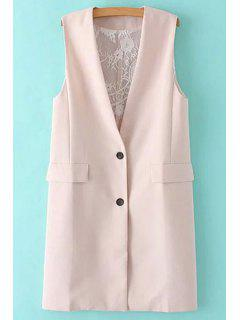 Solid Color Lace Spliced Collarless Waistcoat - Shallow Pink L