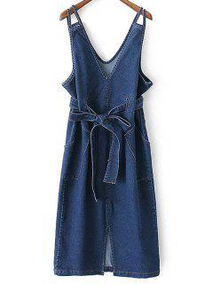 Bowknot Pocket Design Denim Dress - Blue L
