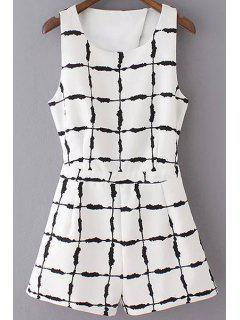 Ink Checked Cut Out Round Neck Sleeveless Playsuit - White L