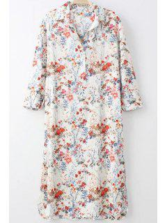 Tiny Floral Print Turn-Down Collar Long Sleeve Shirt - Off-white Xl