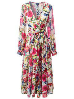 Cross-Over Colorful Maxi Dress - L