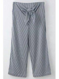 Striped Tie Front Wide Leg Pants - Blue And White L