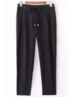 Black Drawstring Ninth Pants - Black L