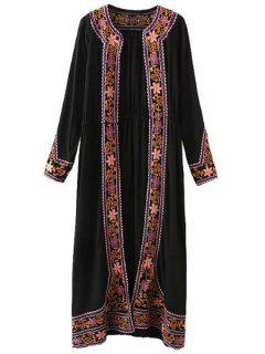 Embroidery Long Sleeve Maxi Cardigan - Black S