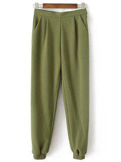 Solid Color Jogger Pants - Army Green L