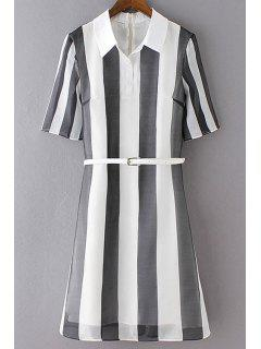 Striped Voile Overlay Shirt Dress - White And Black L