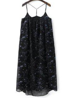High Slit Spaghetti Straps Star Print Dress - Black L